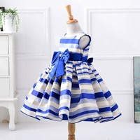 2017 Flower Gril Dress Elegant Striped Bow Party Princess Dresses Baby Kids Good Quality Costume Vestidos Toddler Clothes 002D