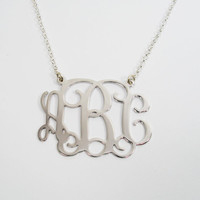 Monogram Necklace 2 inch Personalized - Sterling silver 925. personal gift, birthday gift , monogram jewelry, name jewelry