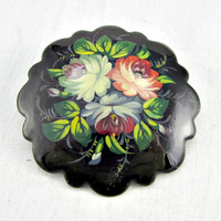 Vintage Hand-Painted Floral Brooch Pin, Black Red Blue Flower Brooch, 1970s Romantic Art Nouveau Victorian Jewelry, Gift for Mom Grandma