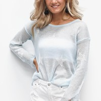 Best Days Blue & White Star Distressed Sweater