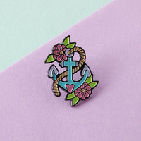 Anchor Enamel Pin with clutch back // lapel pins, mermaid // EP076