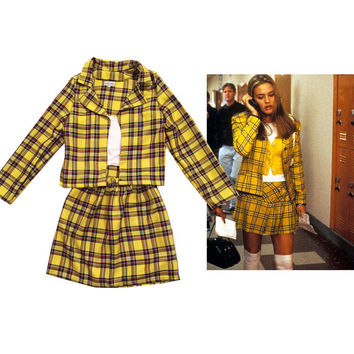 Cher's Clueless Outfit Yellow Tartan Plaid Fancy Dress Adult Costume skate skirt woman costume halloween