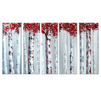 Red and Grey Woodland Landscape Canvas Wall Art Oil Painting