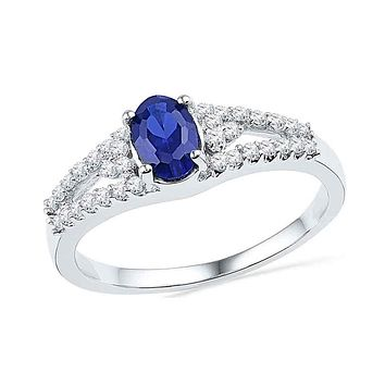 10k White Gold Oval Created Blue Sapphire Solitaire Diamond Ring 1 Cttw