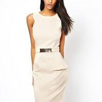 Paper Dolls Belted Pencil Dress with Asymmetric hem - Nude