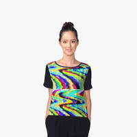'Warped Rainbow' Women's Chiffon Top by ChessJess