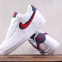 KUYOU N181 Nike Air Force 1 LV8 3D Plush Logo Causal Skate Shoes White Red