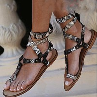 Woman Sandals Ladies Clip Toe Serpentine Buckle Open Toe Flat Shoes Woman Fashion Casual Sandals Female Drop Ship