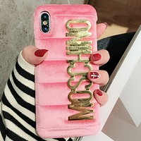 MOSCHINO simple letter iphone6 high-end 7plus luxury Xiphone phone shell F pink