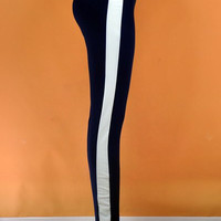 Elastic Waist High-Waisted Color Block Pants
