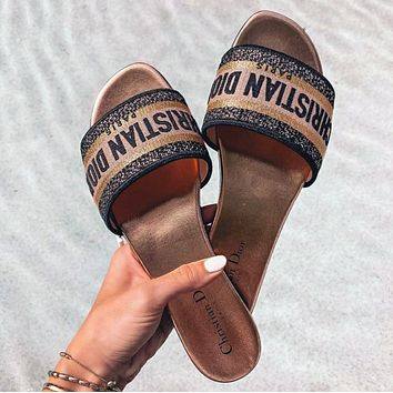 DIOR 20 new slipper letter embroidered printed sandals