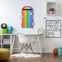 Rainbow Mouth Custom Wood Patch Printed Sign Unique Trendy Game Room