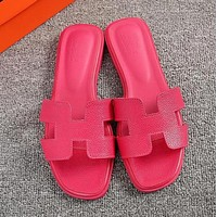 Hermes Classic Hot Sale Women Leather Slipper Sandals Shoes Rose Red