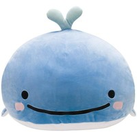 Jinbei San Whale Shark Kokujira BIG Super Soft Round Cushion Kelp San-X Japan - VeryGoods.JP