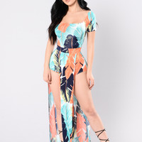 Bahama  Mama Dress - Coral/Mint