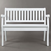 Slat Pattern Wooden Bench With Hidden Storage Space, Weathered White