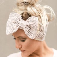 Knitted Bow Headband in Taupe