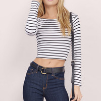 Stripes Long Sleeve Tops Sexy Women's Fashion Crop Top T-shirts [4918610692]