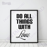 Do all things with Love - Typography Design Vector Digital Download - Ready to use Digital File, Love Quote, Instant Download svg ai pdf