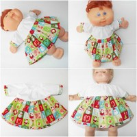 """Cabbage Patch Clothes fits 14"""" or 15"""" Bitty Baby HANDMADE Christmas Santa Dress"""