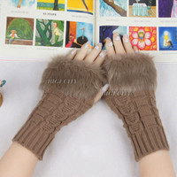 Ladies Knitted Fingerless Winter Thermal Warm Hand Warmer Faux Rabbit Fur Mittens 10 colors