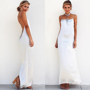 party maxi dress prom white long dress backless open back off shoulder strap sling sleeveless red sexy club vestidos