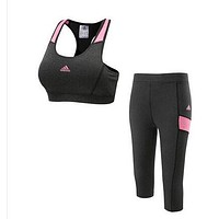 Trendsetter Adidas Woman Gym Sport Yoga Embroidery Print Vest Tank Top Cami Set Two-Piece Sportswear