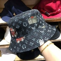 """Louis Vutitton"" Unisex Casual Retro Print Bucket Hat Fisherman Cap Couple Fashion Sun Hat"