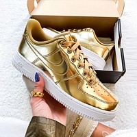 Samplefine2 NIKE Air Force 1 Low Women Men Fashion Personality Metal Color Sport Running Shoes Sneakers Golden