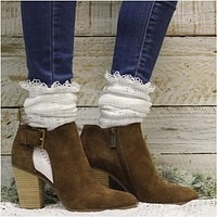 BOOTIE  lace slouch boot socks - white