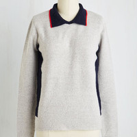 Menswear Inspired Mid-length Long Sleeve Countryside Drive Sweater