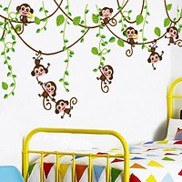 Removable Monkey Bedroom Wall Sticker Decals Mural