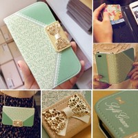 Bow Lace Fashion Wallet Flip Feature with Credit/id Card Slots/holder&strap PU Leather Bling Case Cover For Samsung Apple Smart Mobile Phone (iPhone 5 5S)