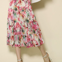 Pink Floral High Waist Pleated Belted A-Line Midi Skirt