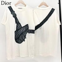DIOR New Summer Women Men Casual Saddle Bag Pattern Print T-Shirt Top