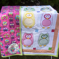 The Hoots - an Owl Applique Baby Quilt with fleece back and hanging sleeve 52 inches W x 61 inches L OOAK