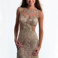 [92.85] Chic Tulle & Venice Lace Jewel Neckline Short Sheath Homecoming Dress - dressilyme.com