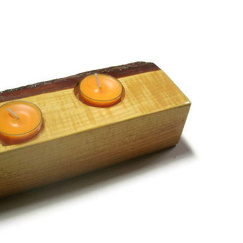 Wood Candle Holder Golden Candles- Wood Tea Light Candle Holder