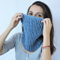 FREE SHIPPING Cozy scarf Chunky knit cowl Neck warmer Chunky knit cowl Wool Sky blue Infinity cowl Knit neck warmer Tube cowl snood