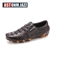 New Men's Octopus Leather Driving Shoes Crocodile Slip On Loafers For Mens Casual Shoes Moccasins Business Boat Shoes Branded