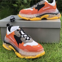 Balenciaga Triple S Clear Sole Trainers Orange / Yellow Sneakers - Best Online Sale