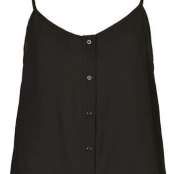 Button Front Strappy Cami - Black