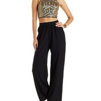 Cut-Out Waist Wide Leg Jumpsuit with Sequined Top