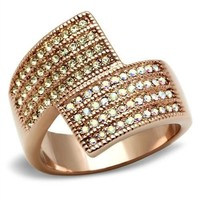 4 Row Bypass Rose Gold Crystal Ring