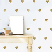 64 Gold or Silver Metallic Heart Vinyl Wall Decals, Heart Wall Stickers