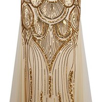 Angel-fashions Women's Sequin Strapless Sweetheart Mesh Lace up Banquet Dress Medium Gold