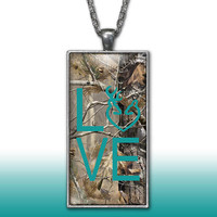 Camo Love Heart Pendant Charm Necklace Deer Head Browning Turquoise Country Girl Custom Necklace Silver Plated Jewelry