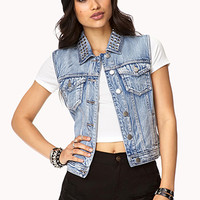 FOREVER 21 Cool Girl Studded Denim Vest Denim Washed