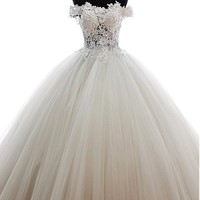 [164.79] Marvelous Tulle Off-the-Shoulder Neckline Ball Gown Wedding Dress with Venice lace - Dressilyme.com