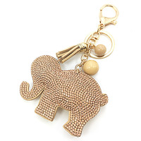 2016 fashion elephant keychain female cute key chains key covers the Rhine stone Mosaic leather fringed key cap gift ten colors